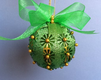 Gold & Chartreuse Sequin Christmas Ornament
