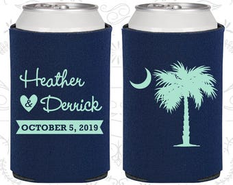 Palmetto Tree, Wedding Party Favors, Crescent Moon, South Carolina Palmetto, Palmetto Moon, Palmetto Tree Moon, Beer Can Coolers (77)