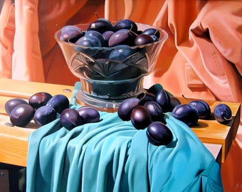 Still life with Plums, Oil on Canvas, Bowl with plums, Food painting, Fruits painting, Certificate, Hyperrealism, Commission , 19.7 x 27.6in