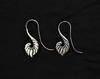 White brass wings earrings. Wings. Ethnic earrings. Natural style. Angel earrings, drop earrings. Silver drop earrings. Spiritual earrings,