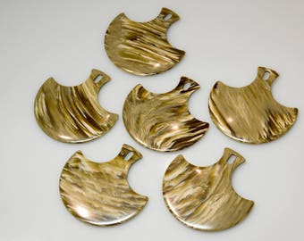 6 pieces Vintage plastic pendant 70s-Galalith-marbled swirls-vintage plastic pendant marbled swirled 70s bakelite