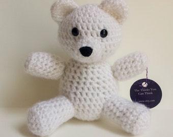 Snowy White Crocheted Teddy Bear