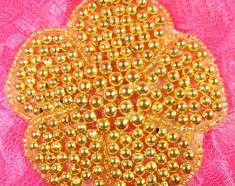 "JB151 Flower Applique Gold Beaded Floral DIY 3"" (JB151-gl)"