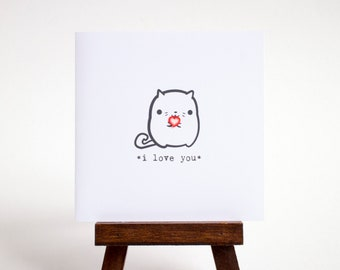 I love you card - small cat with heart