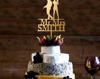 Wedding Cake Topper,James bond cake topper, mr and mrs cake topper, Christmas cake Topper, last name topper,tourist cake topper