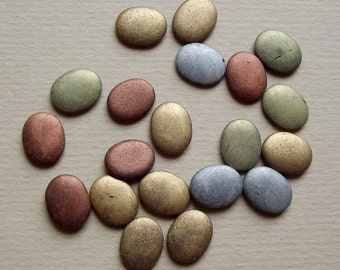 Vintage metallic glass cabochons