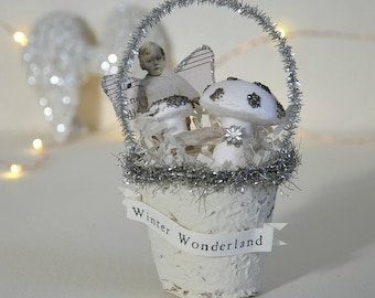Shabby Christmas Ornament / Altered Peat Pot