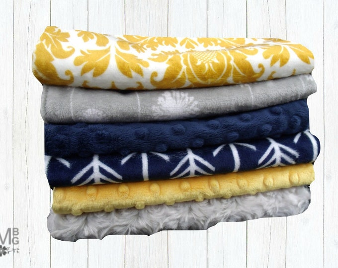 Navy, Gold, and  Gray Baby Burp Cloths, Minky Layette Accessories, Baby Burp Burp Rags, Personalized Burping Cloths