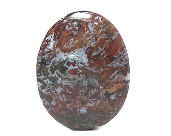Jasper Red Brecciated Jasper Semiprecious Gem Stone Oval Cabochon,  Polished Jasper gemstone, DIY Jewelry
