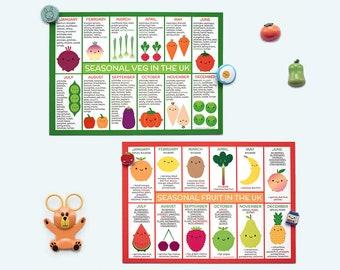 UK Seasonal Food Charts - Fruit & Vegetables - Set of 2 Kawaii Postcards - Gift for Cooks, Chefs and Foodies - Vegetarian, Vegan