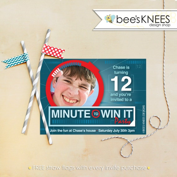 Minute To Win It Birthday Invitation Printable Boy or Girl