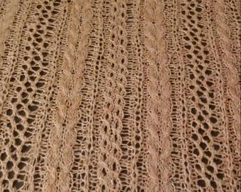 Knit cable & lace, camel-colored throw