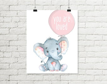 Baby Elephant Nursery Print You Are Loved Balloon Pink Printable Wall Art Safari Jungle Girls Nursery Decor 8x10 11x14 Grey Digital Download