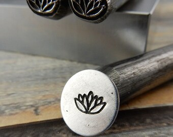 Lotus Blossom Metal Stamp, Large Lotus Flower Outline Design Stamp, 7mm, Stamping Tool for DIY Jewelry
