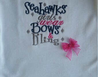 Seattle Seahawks Bows and Bling Shirt or Bodysuit