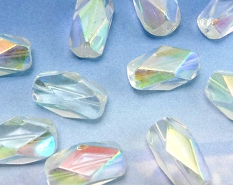 Glass Beads Clear Ab 10 pcs Aurora Borealis 16x8 mm Faceted Czech Fire Polished B-133