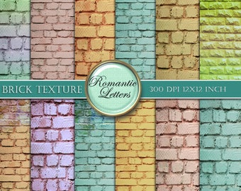 Digital Brick texture backgrounds Brick digital Scrapbook paper pack brick wall digital vintage paper set Shabby Chic 12x12 instant download