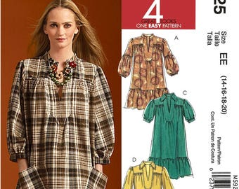 McCalls M5925 Sewing Pattern Misses Pullover Dress in Two Lengths Four Great Looks One Easy Pattern sz 14 thru 20 Uncut