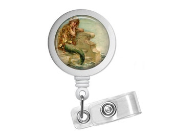 Mermaid 2 Photo Glass/ Bottle Cap Retractable ID Badge Reel, Nurse Badge Reel