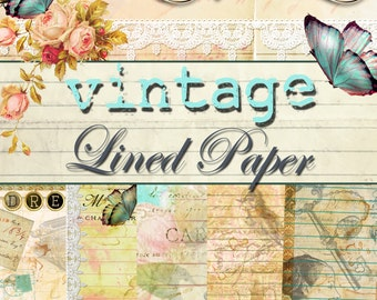 Digital Paper - Vintage Themed Digital Lined Paper Collection - PACK 1 - 5 Different Designs