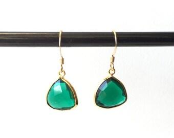 Emerald Green Quartz Drop Earrings - Gold Filled Green Set Gemstone Earrings - Boho Earrings - Bohemian Jewelry