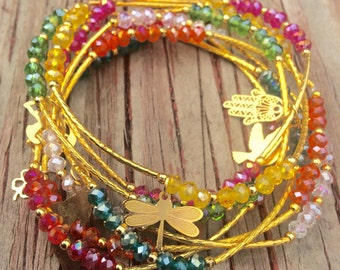 Multi Color Crystal Beaded Charm Bracelet Set with Gold Plated Charms - Semanario pulseras de colores con dijes chapa de oro