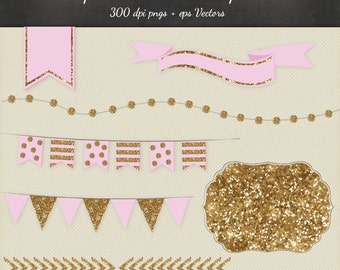 Gold Glitter Clipart Vector 8 Piece Pack - 6 Designs PNG Files & EPS Vectors - Smashbook Project Life Printable desgn elements