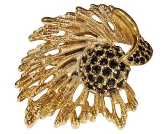 VINTAGE - openwork flower brooch black crystal