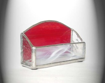 Red Stained Glass Business Card Holder