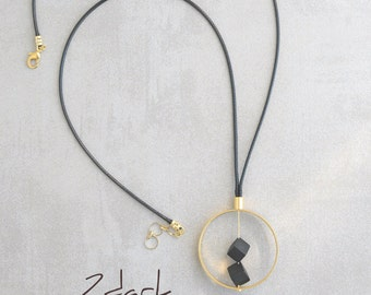 Onyx pendant necklace, Geometric necklace, Statement necklace, Abstract necklace, Onyx jewelry, Gift for mom, Mothers day gift