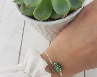 Dainty bracelet  minimalist bracelet • Abalone Shell bracelet • Abalone Shell jewelry • Abalone Shell Wedding bracelet • bridesmaid bracelet