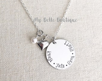 Personalized Hand Stamped Necklace with Heart and Swarovski Pearl Dangle Charms