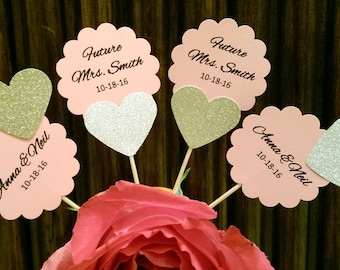 Personalized Bridal Shower Cupcake Toppers, Bridal Shower Decoration, Wedding Cupcake toppers, Future Mrs, Bridal Shower Decor, Wedding