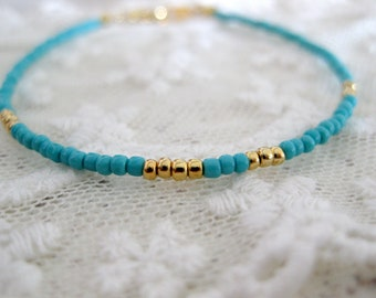 Turquoise and gold seed bead friendship bracelet