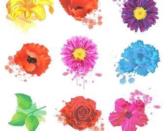 Grunge Flowers Clipart Clip Art, Watercolor Flowers Clipart Clip Art - Commercial and Personal Use