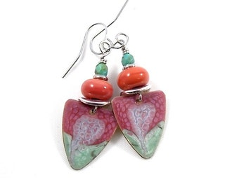 Handmade Earrings, Red and Turquoise, Triangle Swirl Earrings, Silver Earrings, Artisan Earrings, Boho Chic Earrings, Paint and Resin, AE065