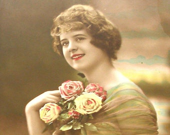 1900s French postcard Edwardian lady with roses,  RPPC real photo, paper ephemera.