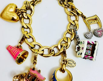 Juicy Couture 6 Charm Bracelet Coach Ginger Bread House Pink Horn Gold Heart Rhinestone Music Note Letter J Class Ring All Signed Statement