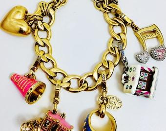 Juicy Couture 6 charme Bracelet Coach gingembre pain maison corne rose or coeur musique Note lettre J classe anneau strass tous signé déclaration