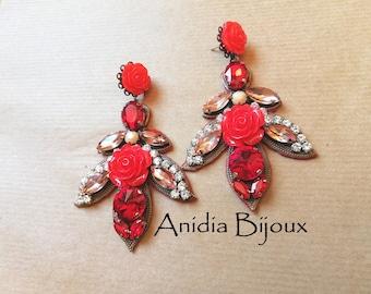 Boho chic earrings by Anidiabijoux. Leaf Watermark. Leather earrings. Chandelier earrings. Rose Earrings. Statement Earrings