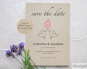 Rustic Save the Date, Save the Date DIY Kraft Instant Download Printable Wedding Save the Date Printable save-the-date Editable PDF Birds01