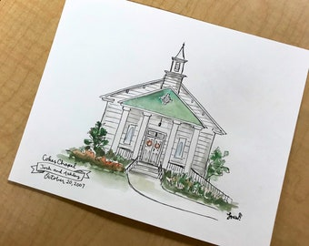 Custom storefront, restaurant, or church illustration, Archival Quality 8x10