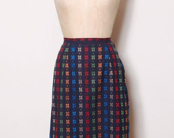 Vintage 50s pencil skirt / butterfly print skirt / rainbow floral skirt / cotton fitted skirt