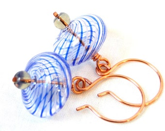 Blown Glass Jewelry, Wire Wrapped Earrings, Blue and Grey