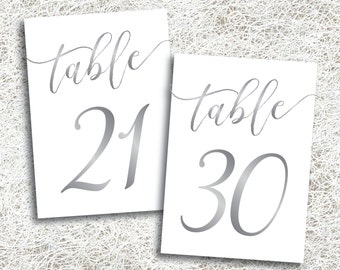 Silver Wedding Table Numbers 21 - 30 | PRINTABLE Instant Download | Printable Silver Script Table Number | Banquet | Anniversary | Reception