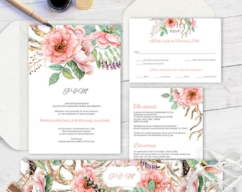 Editable text| Printable wedding invitation suite|Wedding suite diy|Printable| Invitation set| Template for wedding| Floral| Boho |ETWS| WF2
