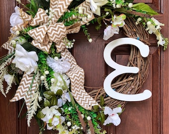 Best wreaths: Stunning front door wreath grapevine w/white burlap chevron ribbon, rose & carnation florals and cascading greenery