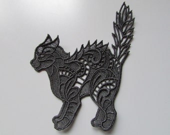 Embroidered Cat Lace Applique