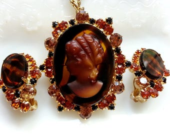 Juliana Tortoise Cameo Pendant Brooch Clip Earrings, Delizza & Elster Demi Parure, Vintage Costume Rhinestone Jewelry