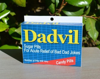 Gag Gift: Dadvil! - Download & Print | Dad's Birthday | Dad Jokes | Last Minute Father's Day| Joke Medicine Box | Gift for Dad | Joke Box